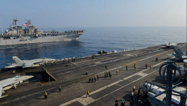 The USS Theodore Roosevelt Carrier Strike Group entered the South China Sea in early April in a show of force, but Deputy Defense Secretary Kathleen Hicks said Friday that diplomacy with China remains the dominant strategy. Photo by MCS Seaman Faith McCollum/U.S. Navy