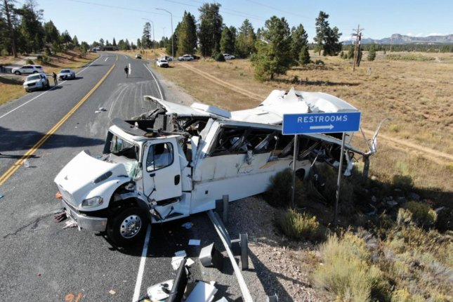Officials said 12 to 15 of the tourists had serious injuries. Photo courtesy of the Utah Highway Patrol