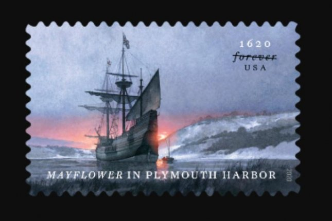 One forthcoming forever stamp commemorates the 400th anniversary of the arrival of the Mayflower in Plymouth Harbor. Image courtesy USPS