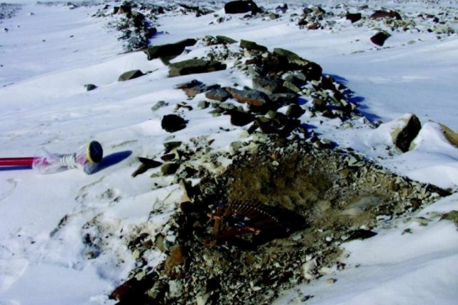 A sampling site in Antarctica where scientists have found tiny glass beads produced by a meteor strike in Australasia some 800,000 years ago. Photo by Imperial College London