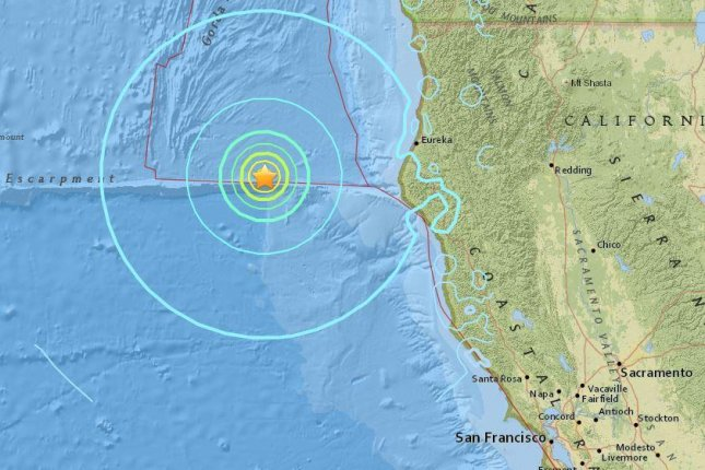 A 6.5-magnitude earthquake struck the coastal area of Northern California around 6:50 a.m. Thursday, 102 miles west of Ferndale, near Eureka. Map by U.S. Geological Survey
