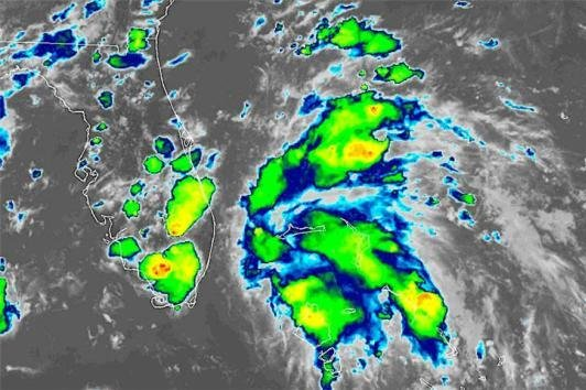 Tropical Depression 3 formed about 120 miles off the coast of Florida. Image courtesy of the National Ocean and Atmospheric Administration