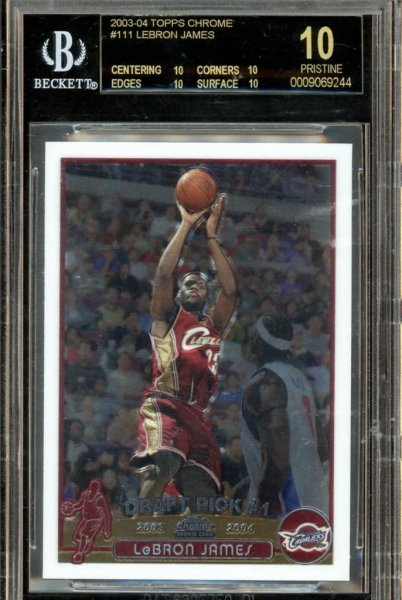 A LeBron James rookie card with a perfect rating sold for $57,100 just four years after it was purchased for $7,150. Photo by Probstein123/eBay.com