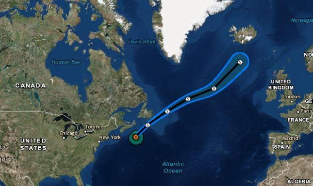 Hurricane Chris, the second hurricane of the Atlantic season, was downgraded to a tropical storm Thursday as it continues its path from United States toward Newfoundland, Canada. Image courtesy of the National Hurricane Center