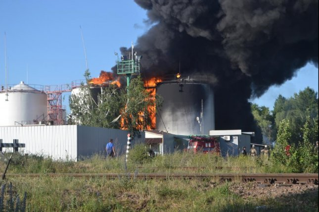 An explosion and fire rocked an oil depot on the outskirts of kiev, Ukraine. Photo courtesy of Ukrainian Emergency Services Ministry.