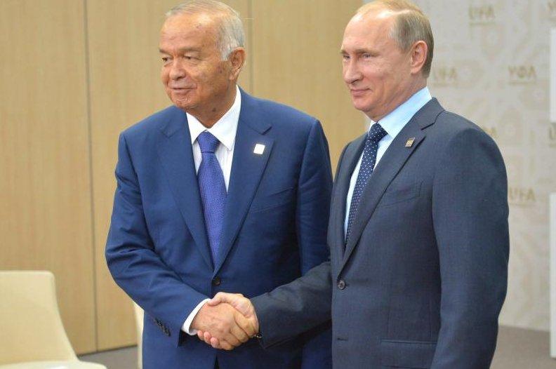 Uzbekistan President Islam Karimov (L) with Russian President Vladimir Putin on July 10, 2015. Photo courtesy the Russian government.
