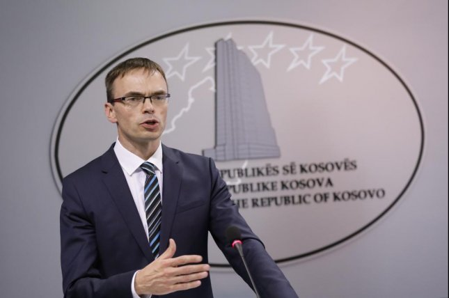 Estonian Foreign Minister Sven Mikser gestures during a press conference. The Estonian government expelled two Russian diplomats on Friday. Photo by Valdrin Xhema/EPA