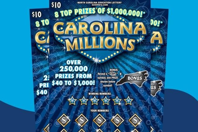 A North Carolina woman who bought a $10 scratch-off ticket to teach her husband a lesson about bad luck ended up winning $1 million. Photo courtesy of the North Carolina Education Lottery
