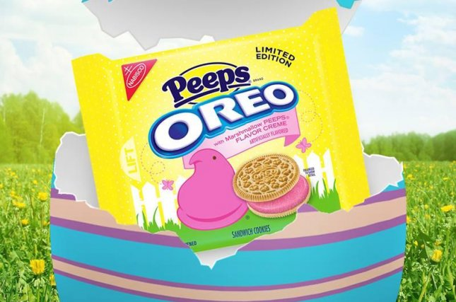 Customers report Easter-themed Peeps Oreo cookies have been turning their tongues and poops bright pink. Photo by Oreo/Facebook