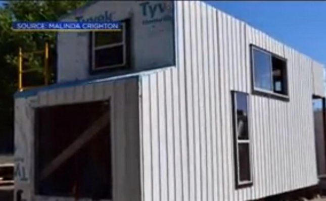 Thieves in California drove off with a woman's tiny $50,000 tiny home. The home had been under construction for three years before it suddenly disappeared as owner Malinda Crichton was walking her dog.  Screen capture/CBS Sacramento/Inform Inc.