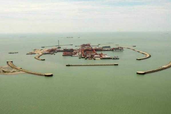 Commercial crude oil from the giant Kashagan oil field off the coast of Kazakhstan has been begun. Photo provided to UPI by the North Caspian Operating Company from its library.