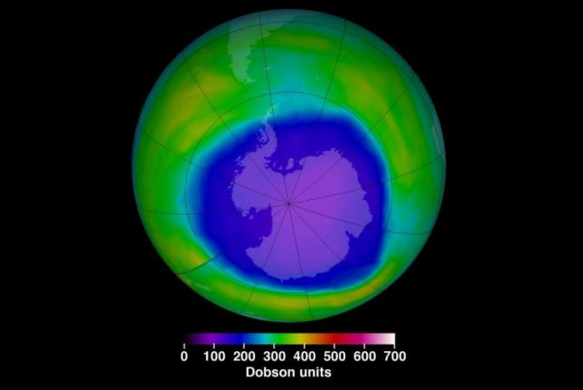 This NASA image features the ozone hole at its maximum extent for 2015. The ozone fluctuates in size over the course of the year, but it has been getting smaller and smaller since the Montreal Protocol passed in 1987. Photo by NASA Goddard Space Flight Center