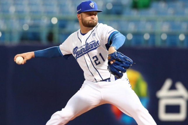 Former Minor League Baseball player Bryan Woodall has pitched in the Chinese Professional Baseball League since 2015 and is now one of several former American players fans can watch on Twitter streams. Photo courtesy of the Fubon Guardians