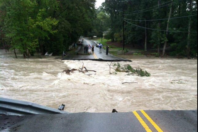 Rockbridge Road near Columbia, S.C., was washed out and damaged by severe flooding. Photo by Gills Creek Watershed Association/Facebook