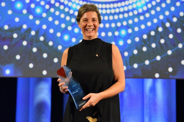 Australian of the Year 2018 Professor Michelle Yvonne Simmons poses for photographs at the Australian of the Year Awards at Parliament House in Canberra, Australian Capital Territory, Australia, on Thursday. Photo by Mick Tsikas/EPA-EFE
