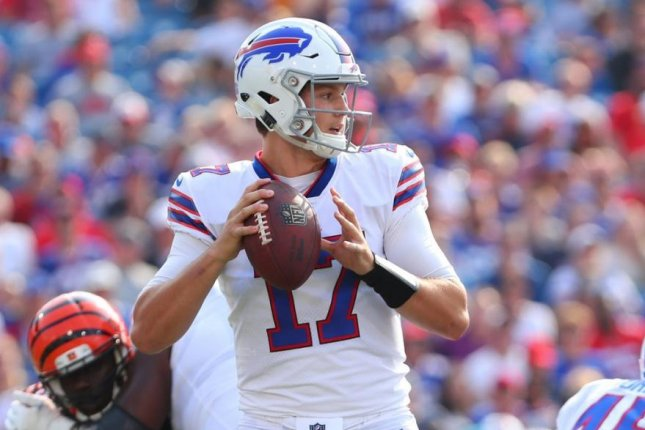 During the third quarter, the Buffalo Bills announced quarterback Josh Allen (17) had been cleared to return to the game after being evaluated for a head injury. Photo courtesy of Buffalo Bills/Twitter