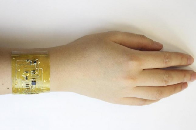 The flexible electronic skin developed by scientists at the University of Colorado can be fitted to a variety of body parts. Photo by Chuanqian Shi