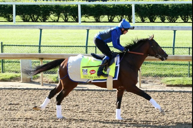 UAE Derby winner Thunder Snow tests the Churchill Downs track in preparation for Saturday's 143rd running of the Kentucky Derby. Photo courtesy of Churchill Downs
