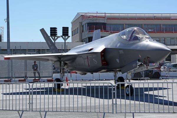 An F-35 on display Monday at Paris Air Show. Photo by David Silpa/UPI