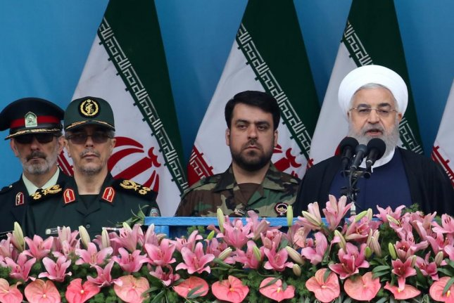 Iranian President Hassan Rouhani attends a ceremony Thursday marking the annual National Army Day in Tehran, Iran. Photo by Abedin Taherkenreh/EPA-EFE