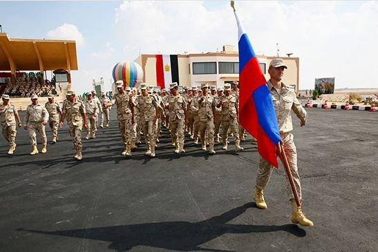 Russian troops parade at an airport near Cairo on October 26, 2019 at the start of a 13-day bilateral military exercise involving Russia and Egypt. Photo courtesy of Russian Defense Ministry