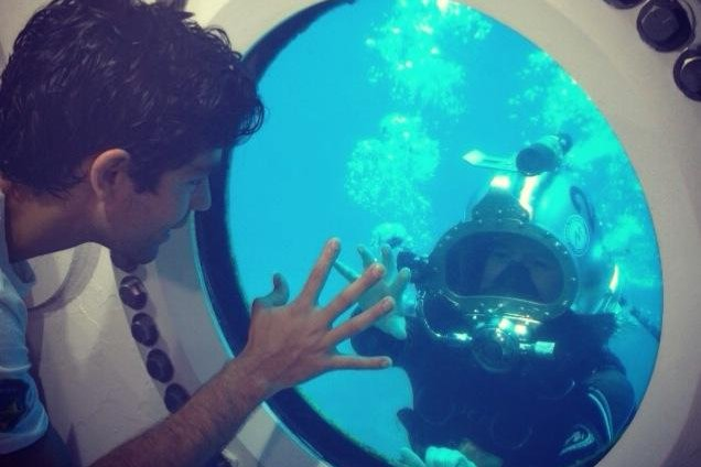Fabien Cousteau is visited by actor and filmmaker Adrian Grenier. (Cousteau/Mission31)