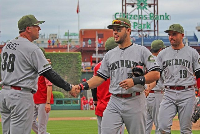 Two solo shots a piece by Adam Duvall and Patrick Kivlehan led the Reds past the Phillies. Photo courtesy Cincinnati Reds/Twitter