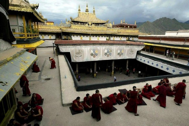 Tibet's Jokhang Temple was on fire on Saturday, but China is reporting no casualties as of Monday. File Photo by Adrian Bradshaw/EPA
