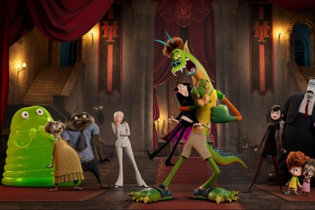 Dracula and Jonathan react to their new forms in Hotel Transylvania: Transformania. Photo courtesy of Sony Pictures
