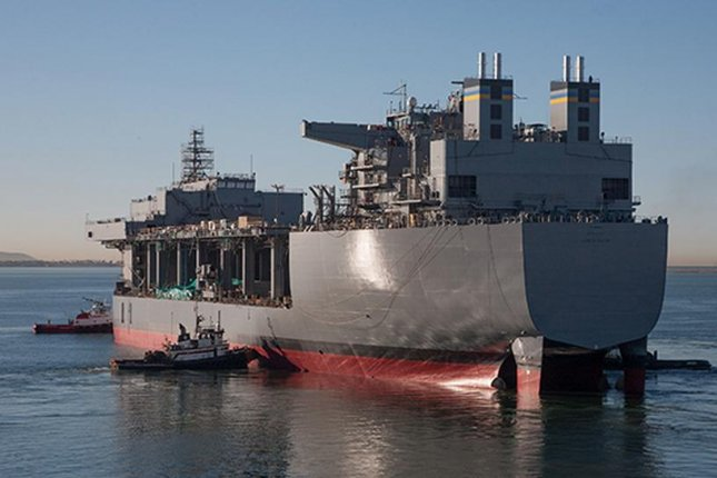 The Navy's third Mobile Landing Platform (MLP), Lewis B. Puller, built by General Dynamics National Steel and Shipbuilding Co. (NASSCO), is the first afloat forward staging base (AFSB) variant of the MLP and is optimized to support a variety of maritime missions. NASSCO photo via Naval Sea Systems Command