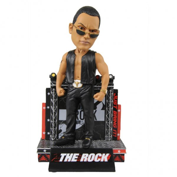 A new set of WWE Bobbleheads, featuring stars such as The Rock, are now available from the National Bobblehead Hall of Fame and Museum. Image courtesy of National Bobblehead Hall of Fame and Museum