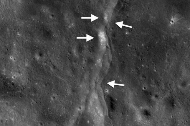 As the moon shrinks, the lunar surface is pushed together, forming hundreds of thrust faults, like the one photographed here by the Lunar Reconnaissance Orbiter Camera. Photo by NASA/GSFC/Arizona State University/Smithsonian