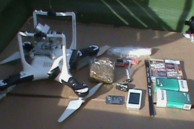 This drone was found crashed with a package attached at the Oklahoma State Penitentiary. Photo courtesy of the Oklahoma Department of Corrections