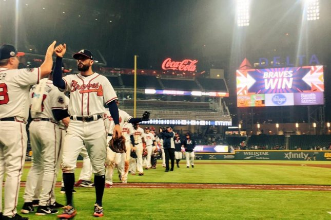 Ender Inciarte went five for five to lead the Braves past the Pirates on Monday night. Photo courtesy Atlanta Braves/Twitter