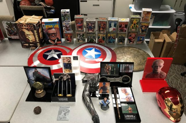 Police in California said a man discovered his $1.4 million collection of Marvel memorabilia, including props from the super hero films, had been stolen when he spotted some of the items listed for sale online. Photo courtesy of the San Bernardino County Sheriff's Office