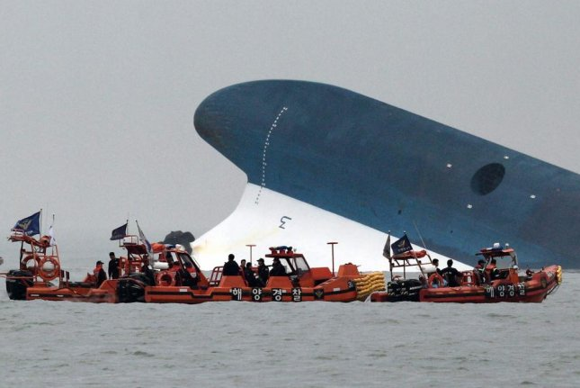 A view of the rescue operation underway after ferry Sewol sank in waters off Jindo Island in the southwestern province of South Jeolla, South Korea, on April 16, 2014. File Photo by Yonhap/EPA