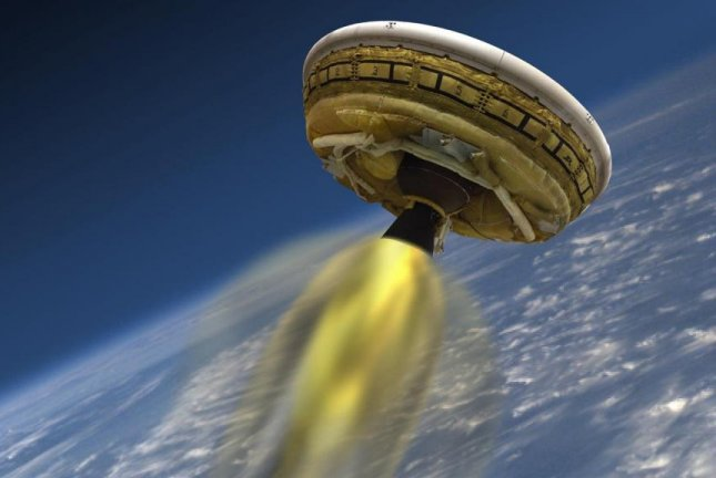 An artistic rendering of NASA's Low-Density Supersonic Decelerator in flight. (NASA/JPL-Caltech)