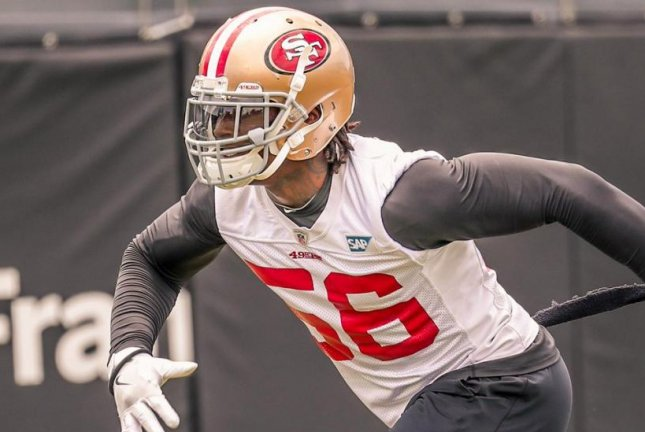 The misdemeanor charge of domestic violence against current Washington Redskins and former San Francisco 49ers linebacker Reuben Foster (56) was dropped Thursday morning. Photo courtesy of San Francisco 49ers/Twitter