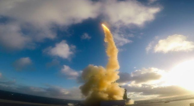 A missile fired from the French frigate FS Forbin successfully destroyed an incoming supersonic missile during At-Sea Demo/Formidable Shield 2021 exercises on May 21. Photo courtesy of 6th Fleet
