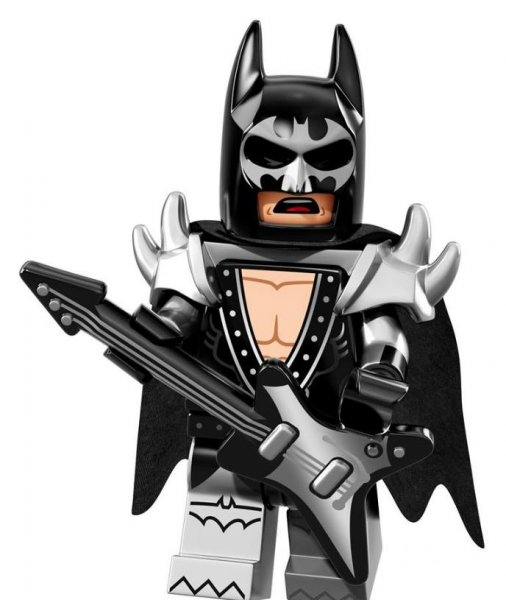 Lego Batman in a Kiss-inspired outfit from Lego's latest collection of Minifigures. The line hints at possible outfits and characters that will be seen in in Warner Bros. upcoming animated comedy, The Lego Batman Movie. Photo courtesy of Lego/Facebook