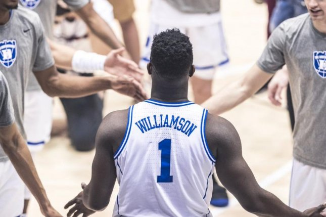 The school announced Zion Williamson was diagnosed with a Grade 1 right knee sprain and listed him as day-to-day. Photo courtesy of Duke Basketball/Twitter