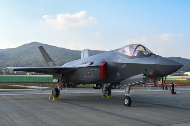 The Lockheed Martin F-35A stealth jet is on display at the ADEX 2019 defense and aerospace trade show in Seongnam, South Korea on Sunday. South Korea has ordered 40 of the advanced aircraft and plans to order 20 more. Photo by Thomas Maresca/UPI