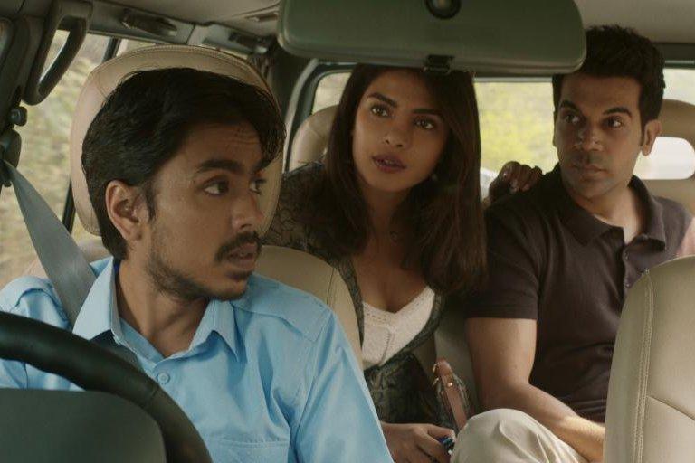 Balram (Adarsh Gourev, left) drives for Pinky Madam (Priyanka Chopra-Jonas) and Ashok (Rajkummar Rao). Photo courtesy of Netflix