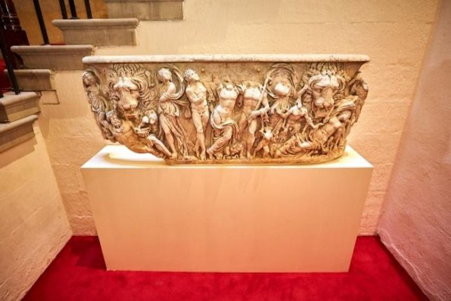 Ancient Roman coffin used as flowerpot for centuries restored