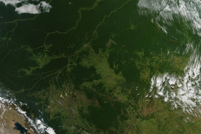 A satellite image of the Brazilian rainforest. A new model is trying to predict how the composition of Amazonian forests will be affected by climate change. File Photo courtesy of NASA