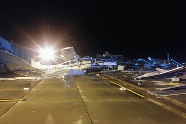 There were 29 reported tornadoes in the U.S. Midwest on Monday. In Kansas' Johnson County, a local airport was shut down after it sustained severe damage. Photo courtesy of Johnson County, Kan., Government