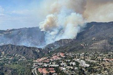 The Palisades Fire had grown to more than 1,300 acres by Sunday afternoon with zero percent contained.Photo courtesy of Special Enforcement Bureau - LASD/Twitter
