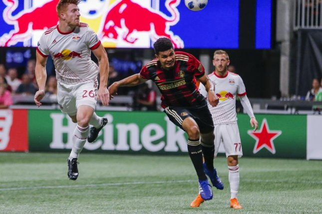 Miles Robinson (C), shown playing for Atlanta United in 2018, scored the winning goal for the United States Men's National Team against Mexico in the CONCACAF Gold Cup finalSunday in Las Vegas. File Phot by Erik S. Lesser/EPA-EFE