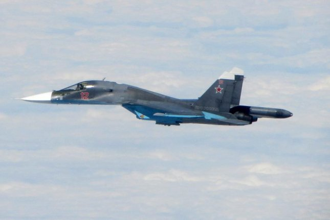 New missiles being equipped to Russian Sukhoi-made Su-34 warplanes are capable of hitting targets within a range of 37 miles. Royal Air Force Photo: MOD/MOD