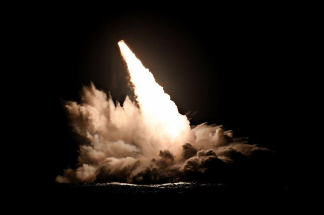 A Trident II missile is launched from the submarine USS Nebraska on Sept. 4 as part of tests this week off the Southern California coast. Photo courtesy of U.S. Navy